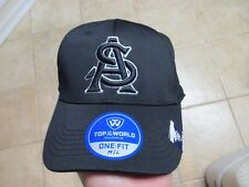 """ARIZONA STATE SUNDEVILS TOP OF THE WORLD """"ONEFIT M/L"""" FLEX FIT HAT NWT $28 BLACK"""
