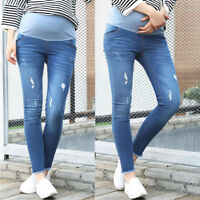 Overbumped Jeans Crop Trousers Pants Skinny Denim Maternity Blue Slim 8 10 12 14
