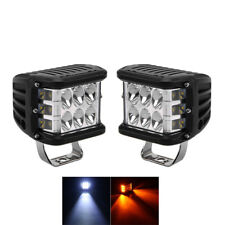 2x Offroad Driving LED Work Light White+Amber Beam Lamp DRL Fog Car Accessories