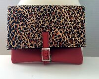 Red faux leather leatherette leopard animal print silver buckle clutch bag