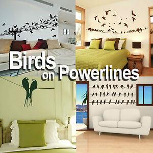 Birds on a Powerline Wall Art Sticker Large Vinyl Transfer Graphic Decal Decor