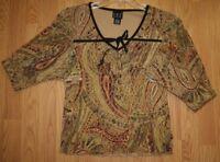 Medium International Concepts Beige Brown Nylon V-Neck Shirt Long Sleeve Women's