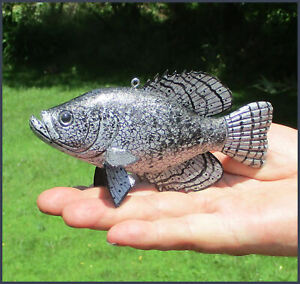 Ice Fishing Decoy Black Crappie Hand-carved  Folk Art  by Sheila Cates