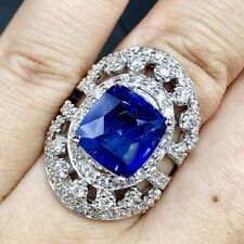 CEYLON! 9.47TCW Blue Sapphire Diamonds 18K solid handmade white engagement Ring