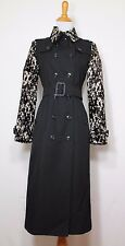 **BURBERRY** LONDON BLACK CALF HAIR LEOPARD ANIMAL PRINT TRENCH COAT JACKET 4 EC