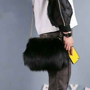 Lady Faux Fur Handbag Crossbody Shoulder Clutch Bag Furry Chain Purse Luxury New