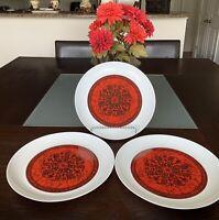 ESPANA-Flamenco BLOCK Bidasoa Spain Set of 3 Porcelain 10.5 inch Dinner Plates.
