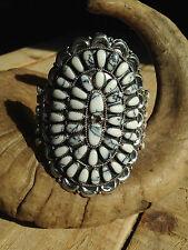 De Colección Zuni Búfalo turquesa Pulsera Brazalete de clúster de plata esterlina enorme Navajo en muy buena condición