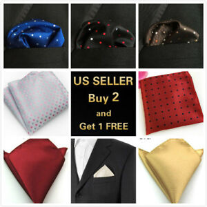 Men's Satin Silk Pocket Square Hankie Hankerchief Wedding Party Formal Suit