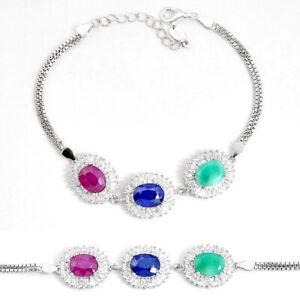Handmade 13.86cts Natural Blue Sapphire Emerald Ruby 925silver Bracelet C19636