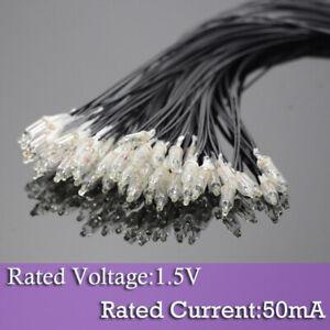 50pcs Clear 3.8mm Mini Bulbs 1.5V 50mA Pre-Wired Grain of Wheat Bulbs Warm White