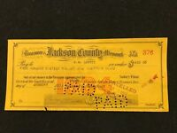 Harry Truman & WW Graves Signature on  Jackson County Missouri Check 1934  #376