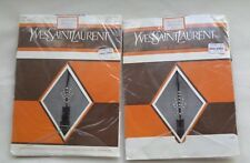 2 Pairs Yves Saint Laurent Pantyhose With Seams and Beaded Motifs Black