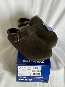 Birkenstock Boston VL/Fell Schuh Gr.39 Mocca Wild- Leder, neu