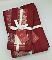 NWT Williams Sonoma Snowfall Jacquard Tablecloth 70x144 and 4 Matching Napkins