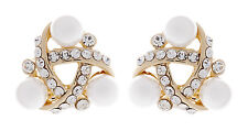 CLIP ON EARRINGS - gold knot earring with crystals and pearls - Alice
