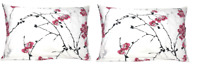DaDa Bedding Cotton Pack of 2 Cherry Blossom White Pink Pillowcases, Queen 20x30