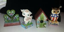 4 Enesco Jim Shore Assorted Lot Lamb, Shamrock, Freedom Owl & Birdhouse Figures