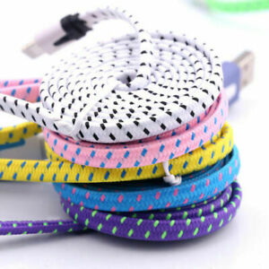 1M 2M 3M Strong Braided Flat Noodle Charger USB Cable for iPhone X 8 7 6s 6 5 UK