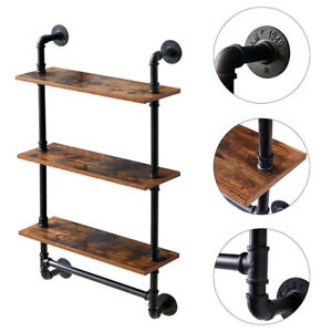 3 Tier Industrial Pipe Shelf Wall Mounted Rustic Floating Shelf with Towel Rack