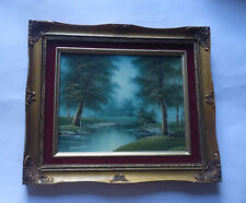 OIL PAINTING ON WOODEN BOARD by A. Antonio: River & Forest Scene / Signed Framed