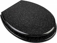 Black Glitter Toilet Seat With Chrome Plated Hinges - G-0078