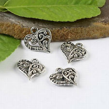 100pcs Tibetan Silver color crafted Heart Charms H1190