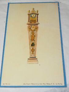 HAND COLORED ARTISTIC PUBLISHING CO 1960 Diagram of a fabulous Case Clock 1960