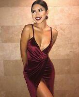 Abito lungo aperto Velluto Spacco Ballo Party Cerimonia Maxi Evening Dress S