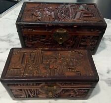 Antique Carved Wooden Camphor Chest Box Trinket Jewelry Chinese Ornate pair x2!