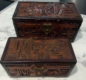 Antique Carved Wooden Camphor Chest Box Trinket Jewelry Chinese Ornate pair x2!!