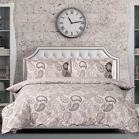 Paisley Grey Duvet Cover Bedding Quilt Set Pillowcases Single Double King Modern