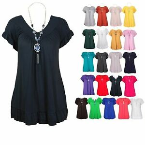 Womens Tops Gypsy Frill Necklace Plus Size Ladies Summer Tops Womens T Shirts