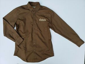 Cabelas Outfitter Series Mens Medium Button Down Shirt Brown Logo Embroidered