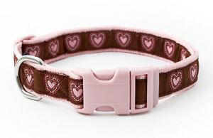 Douglas Paquette MOSAIC HEARTS Nylon & Ribbon Adjustable Dog Collar