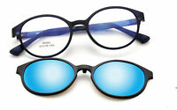 Retro Round Magnetic Polarized Clip-on Driving Sunglasses Rx Eyeglass Frames