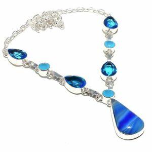 "Blue Lace Agate, Blue Topaz Gemstone Handmade Jewelry Necklace 18"" RN137"