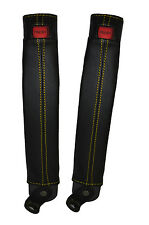 Jaune stitch 2x ceinture peau couvre fits TOYOTA LAND CRUISER PRADO lj78 / LJ70