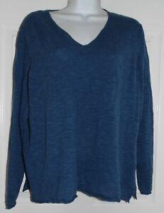 Lovely Blue Organic Linen Blend Eileen Fisher Long Sleeve Pullover - 1X