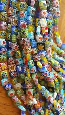 "Millefiori 4mm Square flower design  Cube Glass Beads 15"" Strand"