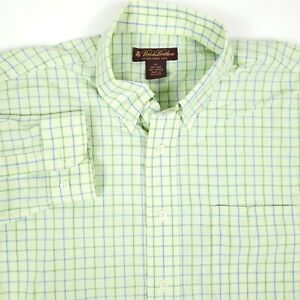 Brooks Brothers Green Checkered Button Up Dress Shirt Kids/Youth Size XL