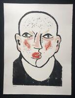 Peter Fetthauer, Portrait, Farbholzschnitt, handsigniert, Probedruck