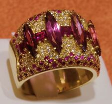 18k Gold Multistone Sonia B Ring- Diamond, Rhodolite Garnet and Pink Tourmaline