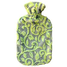 Fashy Hot Water Bottle with Olive Vines Fuzzy Cover 2L Water Bottle