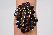 Women's 4.5 ct Blue Sapphire 10k Yellow Gold Cluster Ring Round Blue Thailand