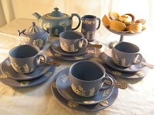 "Magnificent ""Wedgwood Blue Jasper Ware"" 22 piece Afternoon ""Tea Set "" Beautiful."