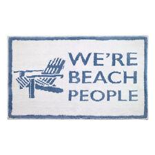 """Avanti Beach Words Bath Rug """"Beach People"""" Blue White Nautical Tropical Cotton"""