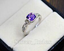 Natural 7X7 MM Cut Amethyst Gemstone 925 Sterling Silver Wedding Ring For Women