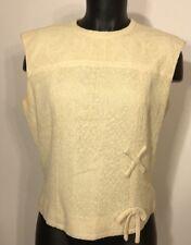 Adele Martin Orignal Vintage Ivory Tank Top Full Zip Back Irish Linen Blend 7588