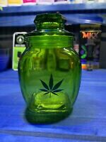 Green Glass Stash Jar Apothecary Prescription  Weed Smell Proof